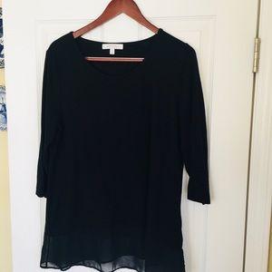 Black tunic with nice sheer detail hem